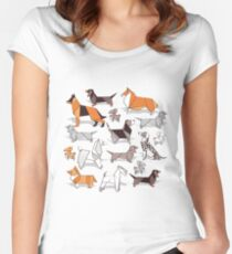 Origami doggie friends // grey linen texture background Fitted Scoop T-Shirt
