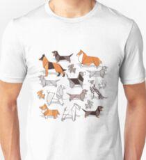 Origami doggie friends // grey linen texture background Unisex T-Shirt