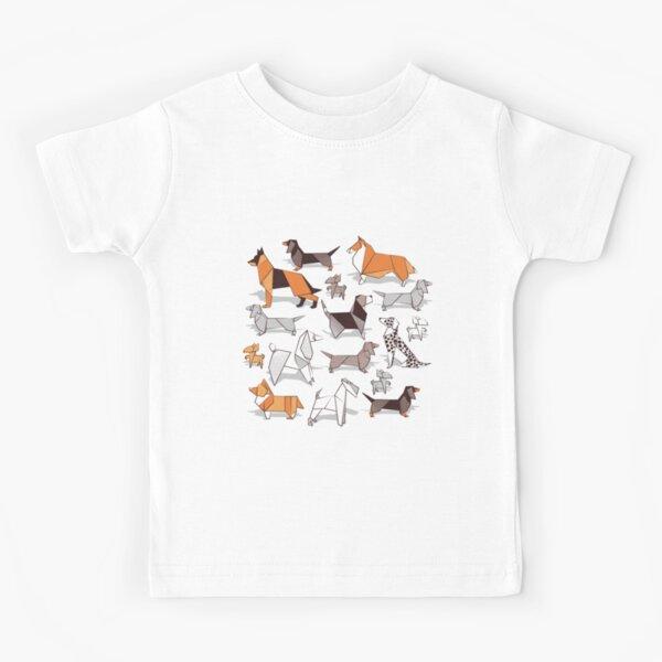 Origami perrito amigos // gris lino textura de fondo Camiseta para niños