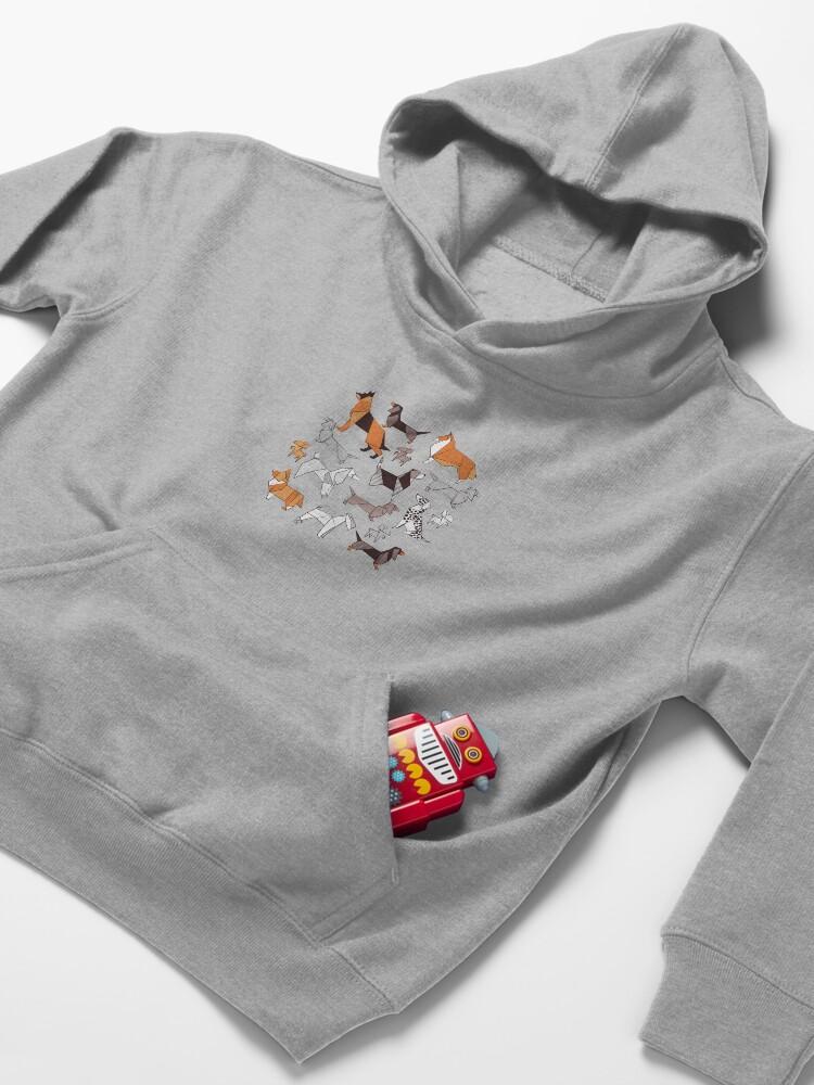 Alternate view of Origami doggie friends // grey linen texture background Kids Pullover Hoodie