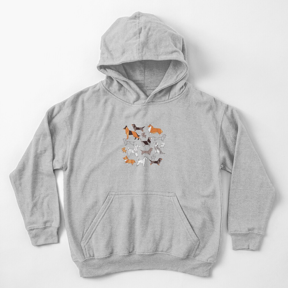Origami doggie friends // grey linen texture background Kids Pullover Hoodie