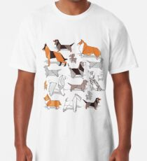 Origami doggie friends // grey linen texture background Long T-Shirt