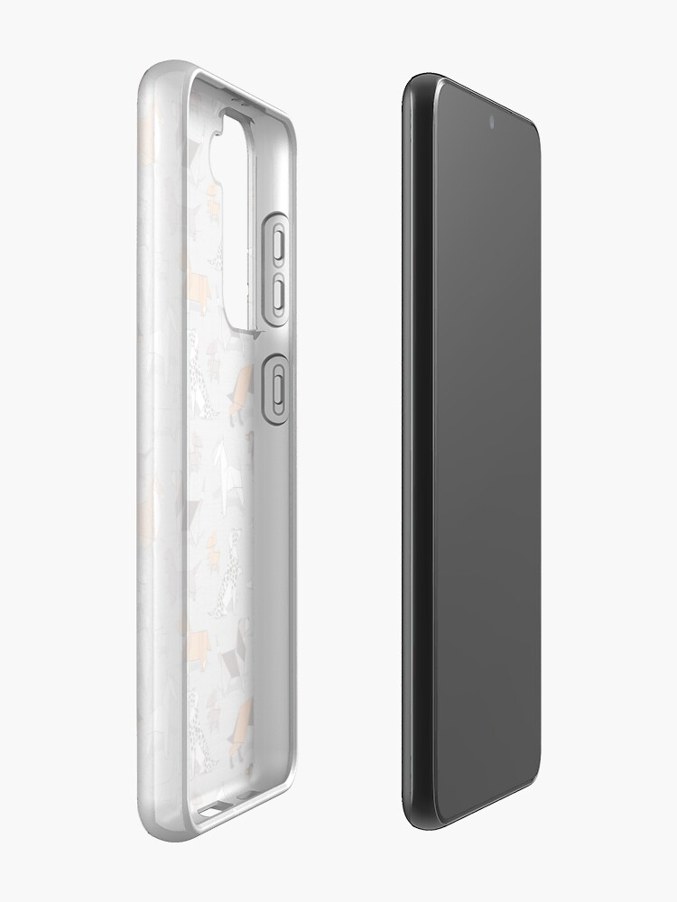 Alternate view of Origami doggie friends // grey linen texture background Case & Skin for Samsung Galaxy
