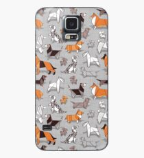 Origami doggie friends // grey linen texture background Case/Skin for Samsung Galaxy