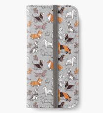 Origami Hündchenfreunde / / grau Leinen Textur Hintergrund iPhone Flip-Case/Hülle/Klebefolie