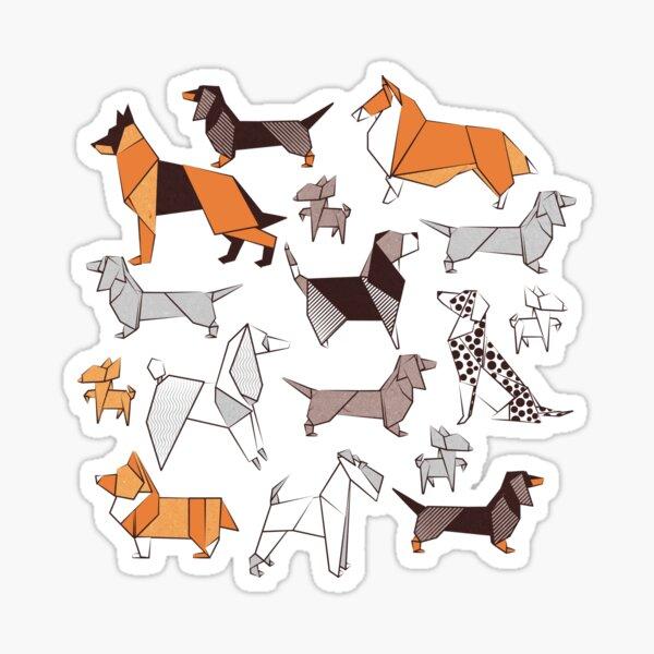 Origami doggie friends // grey linen texture background Sticker