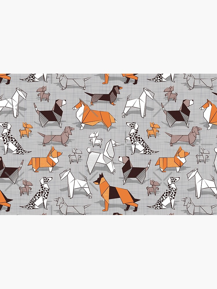 Origami doggie friends // grey linen texture background by SelmaCardoso