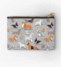 Origami doggie friends // grey linen texture background Studio Pouch