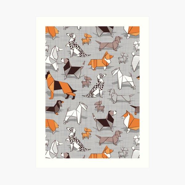 Origami doggie friends // grey linen texture background Art Print