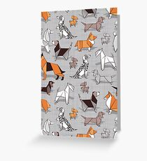 Origami doggie friends // grey linen texture background Greeting Card
