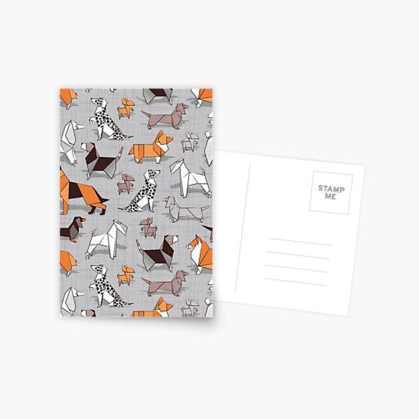 Origami doggie friends // grey linen texture background Postcard