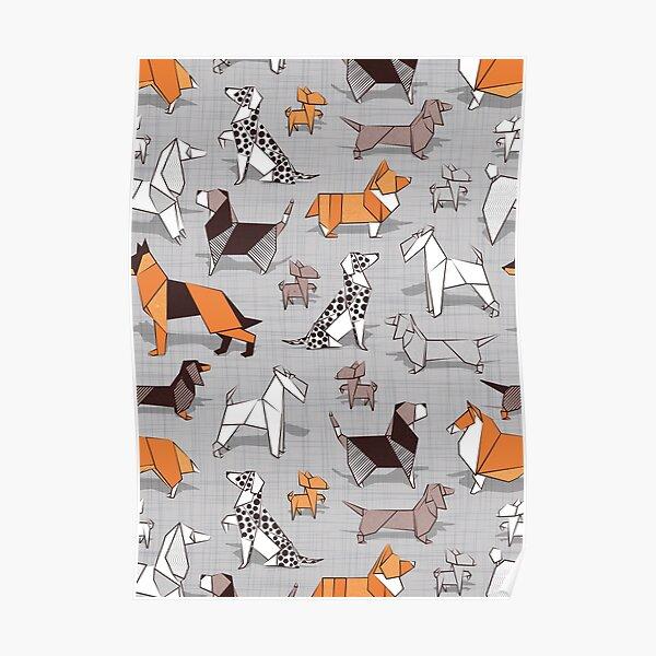 Origami doggie friends // grey linen texture background Poster