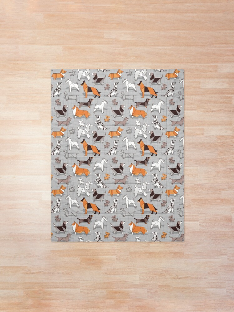 Alternate view of Origami doggie friends // grey linen texture background Comforter