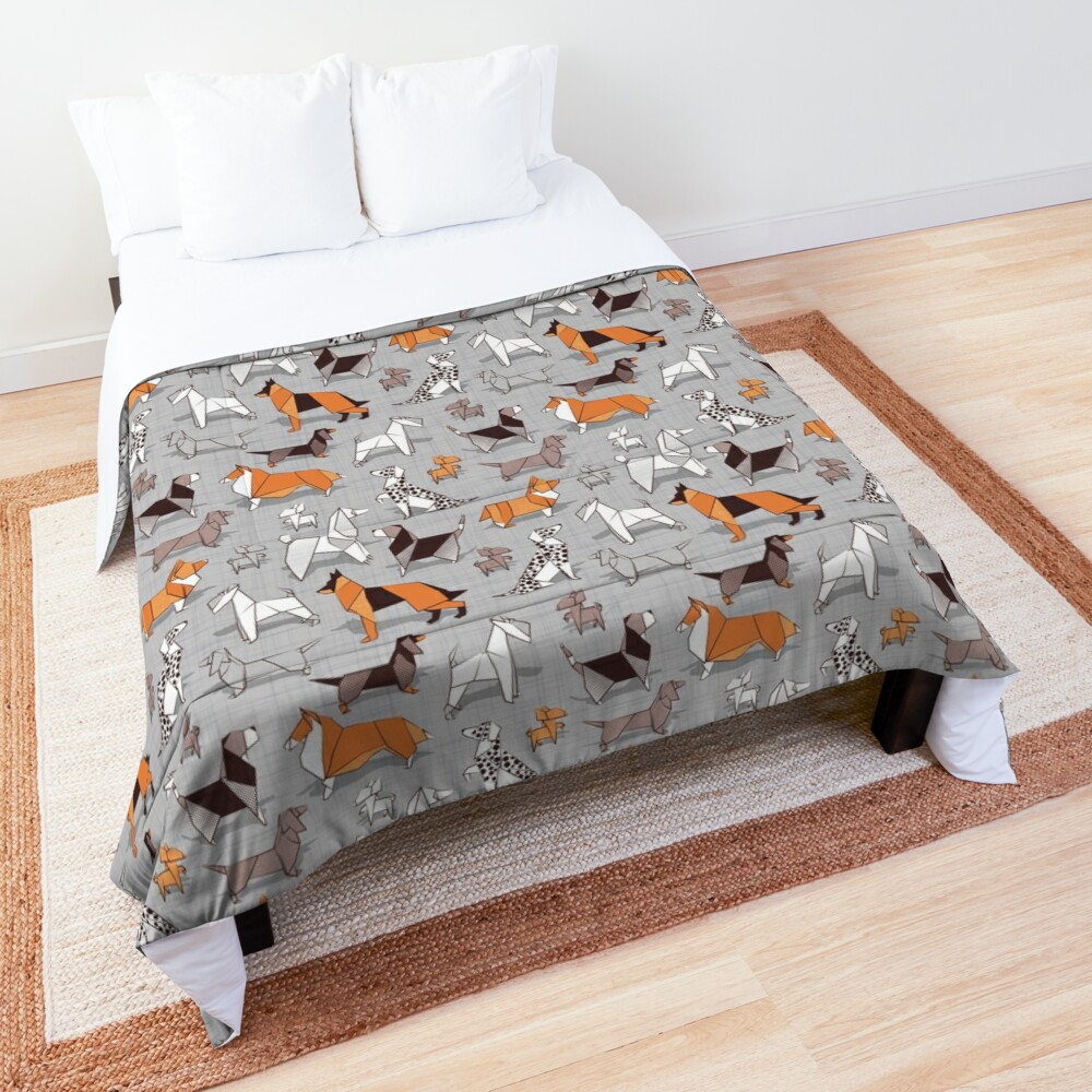 Origami doggie friends // grey linen texture background Comforter