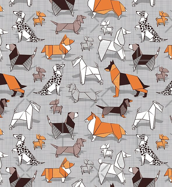 Origami doggie friends // grey linen texture background by SelmaCardoso