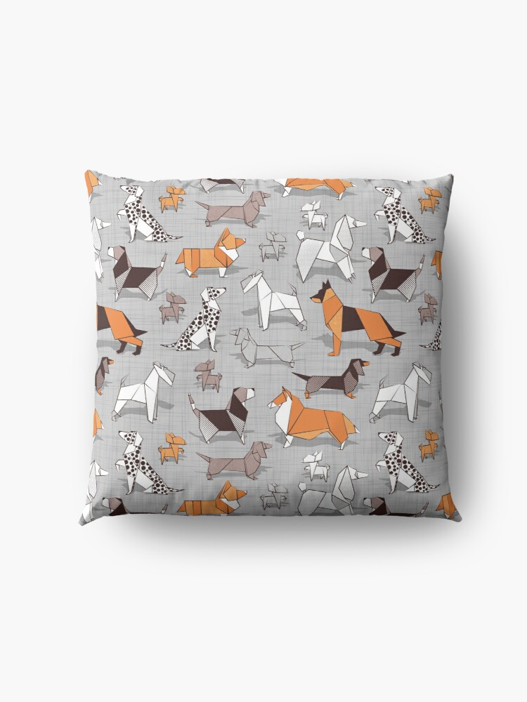 Alternate view of Origami doggie friends // grey linen texture background Floor Pillow