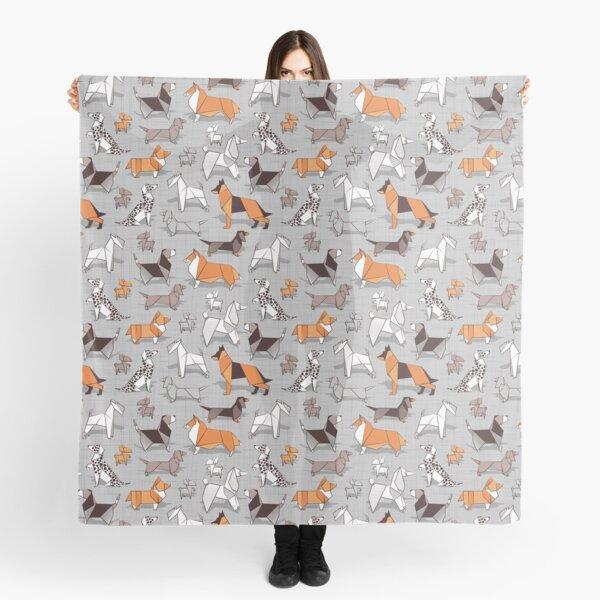 Origami doggie friends // grey linen texture background Scarf