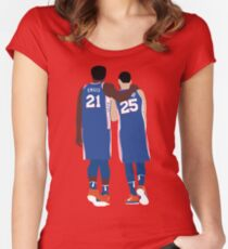 Ben Simmons and Joel Embiid Women's Fitted Scoop T-Shirt