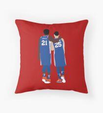 Ben Simmons and Joel Embiid Throw Pillow