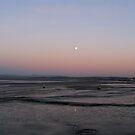 full moon, Morecambe Bay by lukasdf