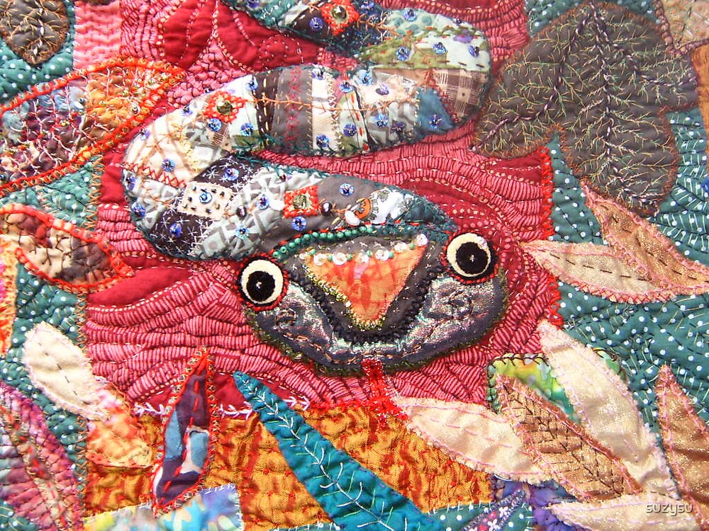Patchwork applique snake crazy quilt original art by suzysu