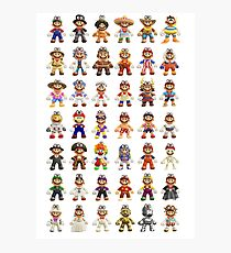 Super Mario Odyssey All Outfits Xtra Large for Individual Stickers Photographic Print