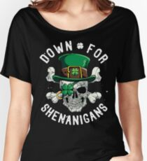 Down for Shenanigans T shirt St Patricks Day Funny Skull Tee Women's Relaxed Fit T-Shirt