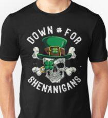 Down for Shenanigans T shirt St Patricks Day Funny Skull Tee Unisex T-Shirt