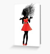 Girl in red dress Greeting Card