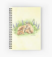 Doe and Fawn Nuzzle in the Lupines Spiral Notebook