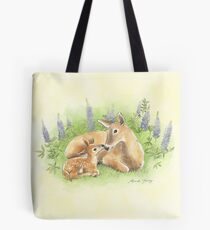 Doe and Fawn Nuzzle in the Lupines Tote Bag