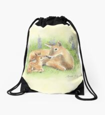 Doe and Fawn Nuzzle in the Lupines Drawstring Bag