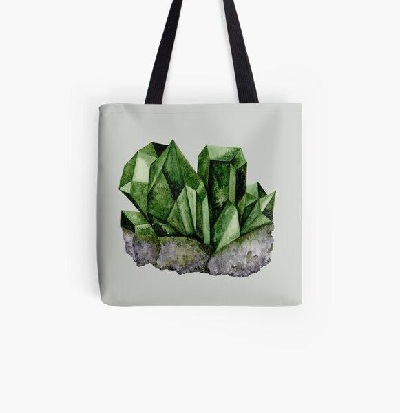 Green Watercolor Gem All Over Print Tote Bag
