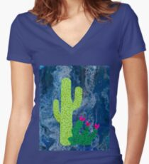 Funky Cactus friends with Blue pour background Women's Fitted V-Neck T-Shirt