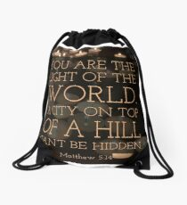 Light of the World - Verse Image from Matthew 5:14 Drawstring Bag