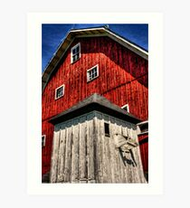 Red Barn with White Shed Art Print