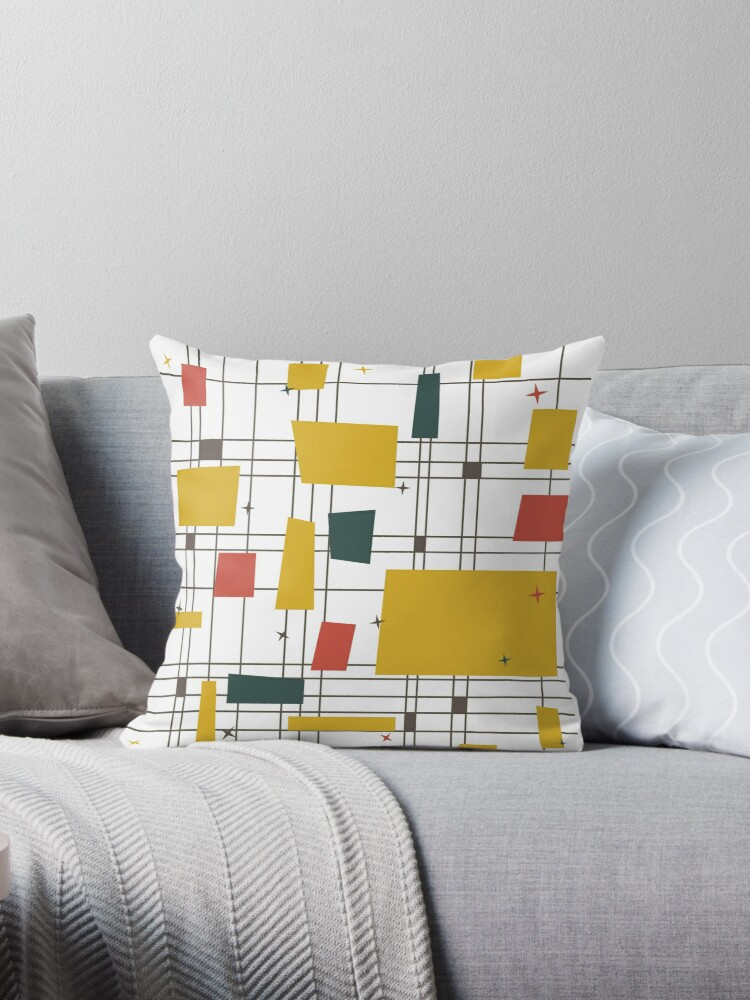 Mid Century Modern Throw Pillows By Acteon Redbubble