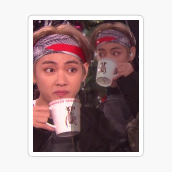 Taehyung sipping tea meme  Sticker