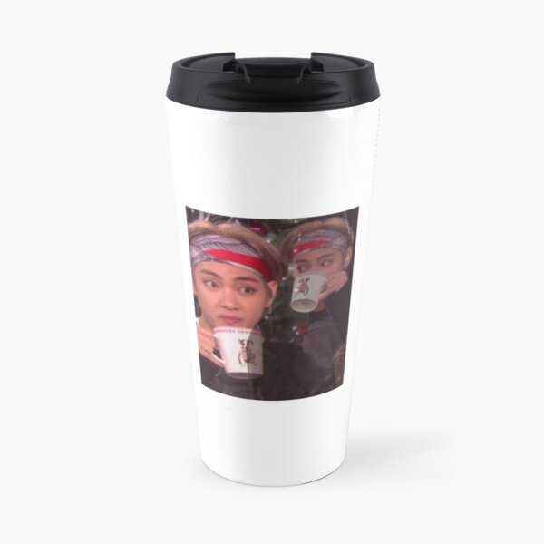 Taehyung sipping tea meme  Travel Mug