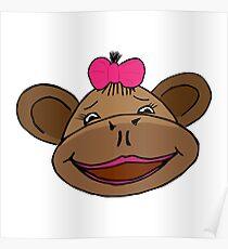 cartoon style monkey head Poster