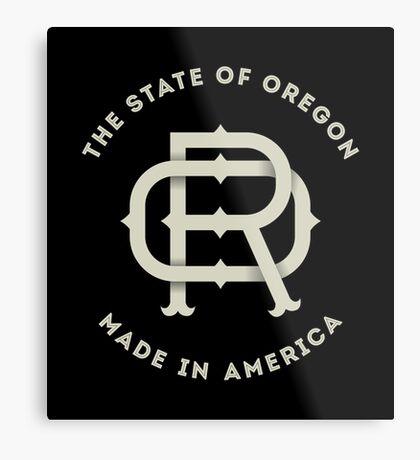 American State of Oregon Monogram OR Metal Print