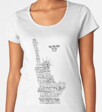 New York The Statue of Liberty Contoured in Words Women's Premium T-Shirt