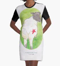 Haruki Murakamis eine wilde Schaf-Verfolgung // Illustration eines Schafs mit einem roten Stern im Aquarell T-Shirt Kleid