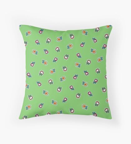 Green Background with Small Flowers Retro Pattern Throw Pillow