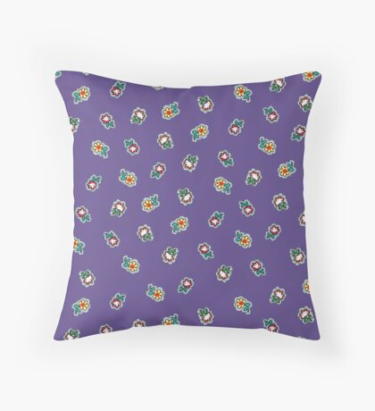 Ultra Violet  Background with Small Flowers Retro Pattern Throw Pillow