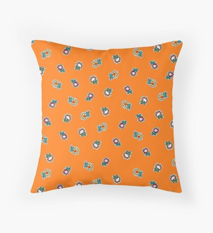Orange  Background with Small Flowers Retro Pattern Throw Pillow