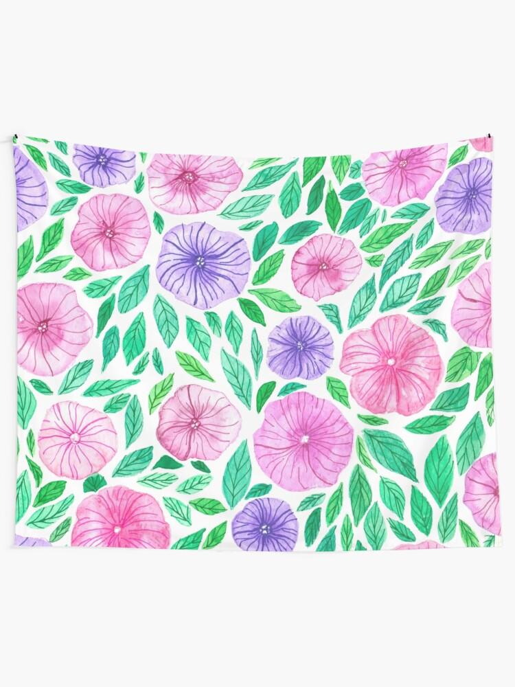 Watercolor Petunia Garden Tapestry By Katerinamk Redbubble