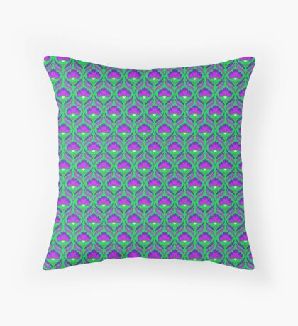 Ultra Violet and Green Abstract Floral Retro Pattern Throw Pillow