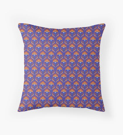 Orange and Blue Abstract Floral Retro Pattern Throw Pillow