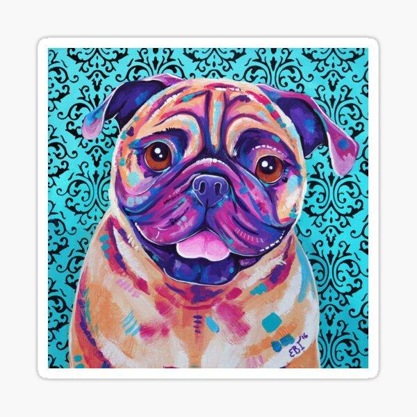 Billy - Tan Pug Dog artwork Sticker